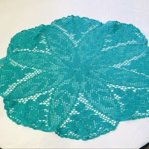Vintage handmade crochet turquoise table runner